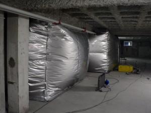 Archives départementales, sous-sol, bulle d'anoxie gonflée, 13 juin 2008