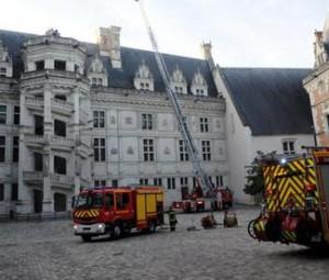 Exercice de sauvetage au château royal de Blois